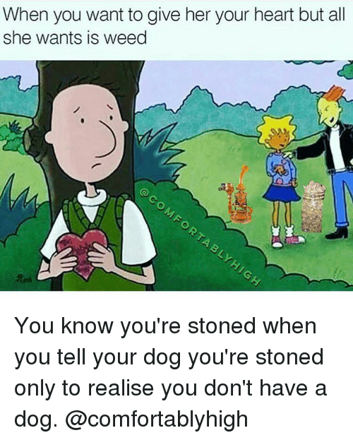 Weed, Marijuana, and Weeds: When you want to give her your heart but all  she wants is weed You know you're stoned when you tell your dog you're stoned only to realise you don't have a dog. @comfortablyhigh