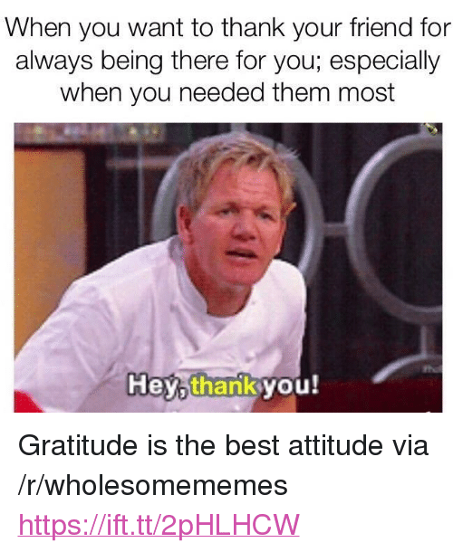 """Best, Attitude, and Being There: When you want to thank your friend for  always being there for you; especially  when you needed them most  the  Hey,thankyou! <p>Gratitude is the best attitude via /r/wholesomememes <a href=""""https://ift.tt/2pHLHCW"""">https://ift.tt/2pHLHCW</a></p>"""