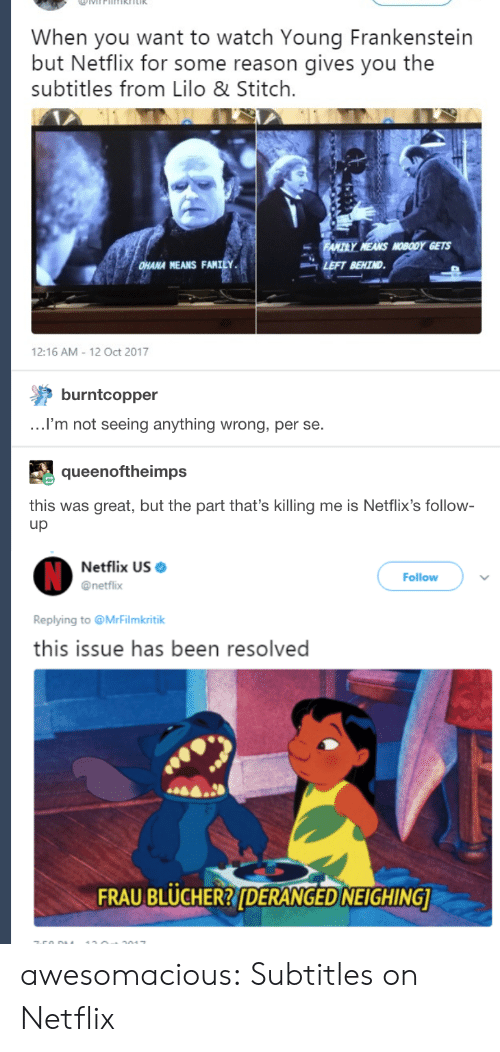 netflixs: When you want to watch Young Frankenstein  but Netflix for some reason gives you the  subtitles from Lilo & Stitch.  HANA MEANS FANILY  -LEFT BEHIND  12:16 AM 12 Oct 2017  burntcopper  .I'm not seeing anything wrong, per se.  queenoftheimps  this was great, but the part that's killing me is Netflix's follow-  up  Netflix US  @netflix  Follow  Replying to @MrFilmkritik  this issue has been resolved  FRAU BLUCHER?DERANGED NEIGHING awesomacious:  Subtitles on Netflix