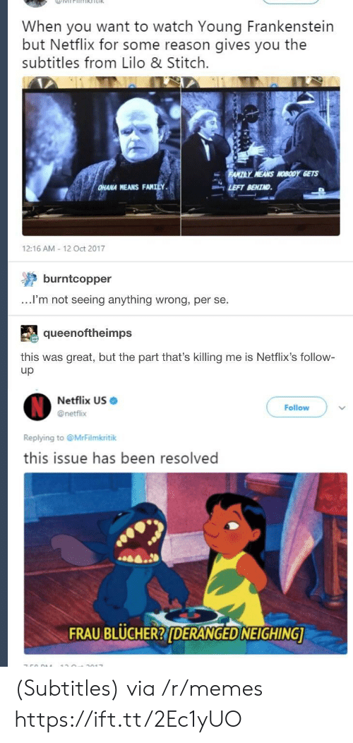 netflixs: When you want to watch Young Frankenstein  but Netflix for some reason gives you the  subtitles from Lilo & Stitch.  Y MEANS NOBODY GETS  HANA MEANS FANILY.  LEFT BEHIND  12:16 AM 12 Oct 2017  burntcopper  ...lI'm not seeing anything wrong, per se.  queenoftheimps  this was great, but the part that's killing me is Netflix's follow-  up  Netflix US .  @netflix  Follow  Replying to @MrFilmkritik  this issue has been resolved  A.  FRAU BLUCHER?DERANGED NEIGHING (Subtitles) via /r/memes https://ift.tt/2Ec1yUO
