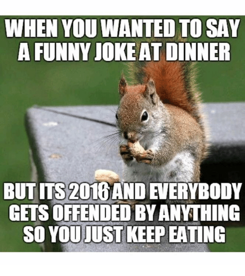 Dank, Funny, and Funny Jokes: WHEN YOU WANTED TO SAY  A FUNNY JOKE AT DINNER  BUT ms 2016AND  GETS OFFENDED BYANTHING  SO YOU JUST KEEP EATING