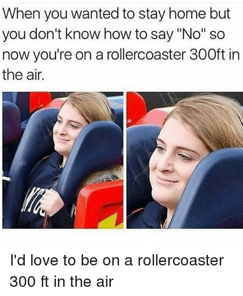 "Memes, 300, and 🤖: When you wanted to stay home but  you don't know how to say ""No"" so  now you're on a rollercoaster 300ft in  the air. I'd love to be on a rollercoaster 300 ft in the air"