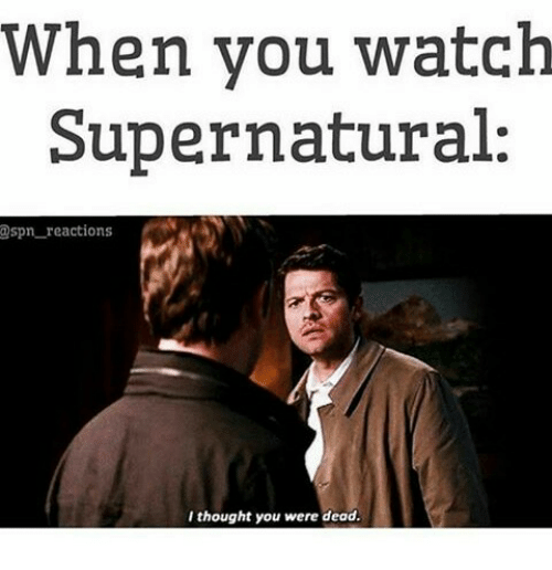 watch supernatural: When you watch  Supernatural:  @spn reactions  I thought you were dead.