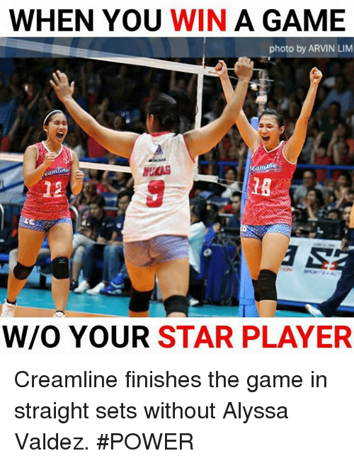 lims: WHEN YOU WIN A GAME  photo by ARVIN LIM  mlin  UKAS  eamli  12  18  W/O YOUR STAR PLAYER Creamline finishes the game in straight sets without Alyssa Valdez. #POWER