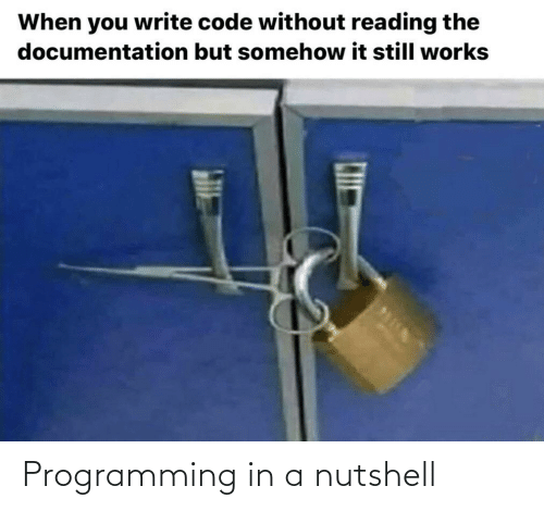 Programming: When you write code without reading the  documentation but somehow it still works Programming in a nutshell