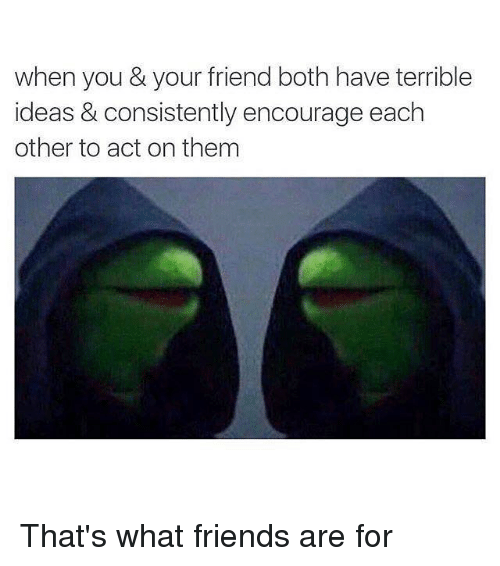 that's what friends are for: when you & your friend both have terrible  ideas & consistently encourage each  other to act on them That's what friends are for