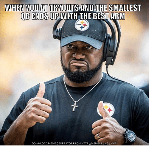 Nfl, Download, and Downloads: WHEN YOUATTRYOUTS AND THE SMALLEST  OBENDS UP  WITH THE BESTARM  DOWNLOAD MEME GENERATOR FROM HTTP://MEMECRUNCH.COM