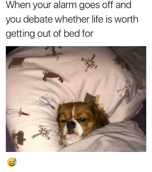 getting out of bed: When your alarm goes off and  you debate whether life is worth  getting out of bed for  ㄋ  多 😅