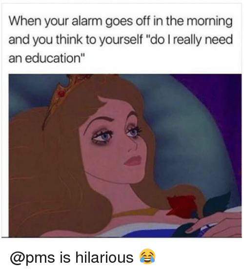 """When Your Alarm Goes Off: When your alarm goes off in the morning  and you think to yourself """"do I really need  an education"""" @pms is hilarious 😂"""