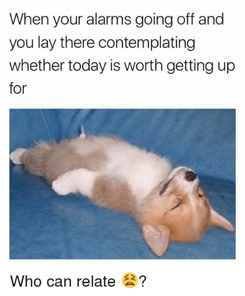 Memes, Today, and 🤖: When your alarms going off and  you lay there contemplating  whether today is worth getting up  for Who can relate 😫?
