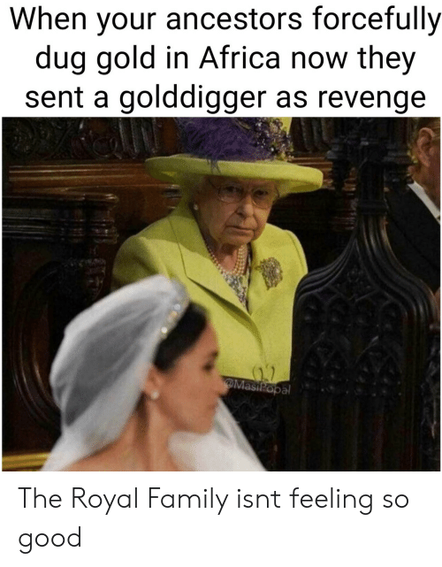 Royal family: When your ancestors forcefully  dug gold in Africa now they  sent a golddigger as revenge  al The Royal Family isnt feeling so good