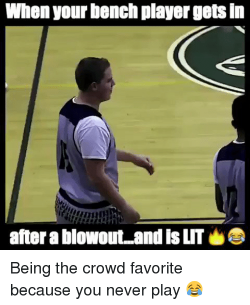 Blackpeopletwitter, Bench, and Crowd: When your bench player getsin  after a blowout and is LIT Being the crowd favorite because you never play 😂