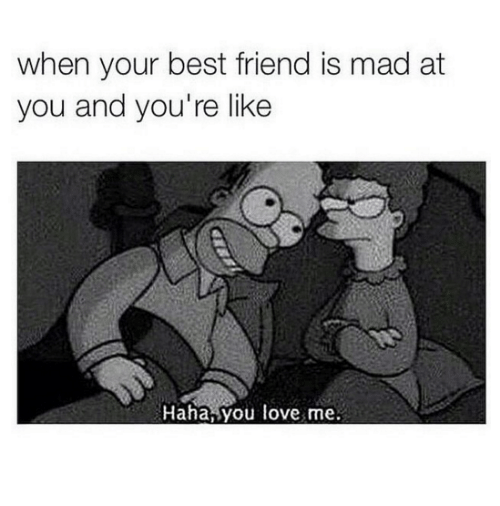 When Your Best Friend: when your best friend is mad at  you and you're like  Haha, you love me.