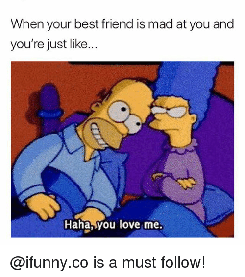 Best Friend, Love, and Memes: When your best friend is mad at you and  you're just like...  Haha, you love me. @ifunny.co is a must follow!