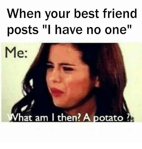 Funny Memes For Your Best Friend : When your best friend posts i have no one me hat am then