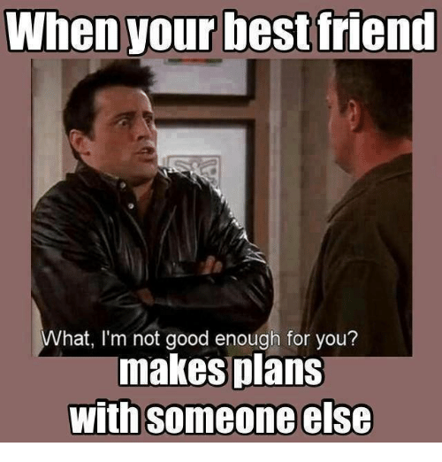 memes: When your best friend  What, I'm not good enough for you?  makes plans  With someone else