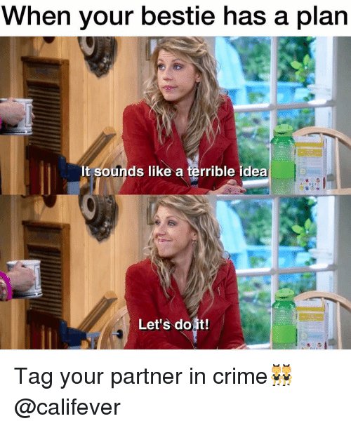 Crime, Memes, and 🤖: When your bestie has a plan  It sounds like a terrible idea  Let's do it! Tag your partner in crime👯 @califever