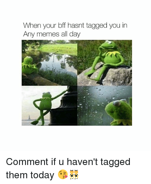 Memes, Girl, and Tagged: When your bff hasnt tagged you in  Any memes all day Comment if u haven't tagged them today 😘👯