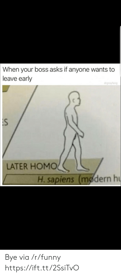 When Your Boss: When  your boss asks if anyone wants to  leave early  drgrayfang  :S  LATER HOMOく  H. sapiens (modern h Bye via /r/funny https://ift.tt/2SsiTvO