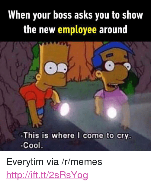 """Everytim: When your boss asks you to show  the new employee around  -This is where I come to cry.  -Cool. <p>Everytim via /r/memes <a href=""""http://ift.tt/2sRsYog"""">http://ift.tt/2sRsYog</a></p>"""