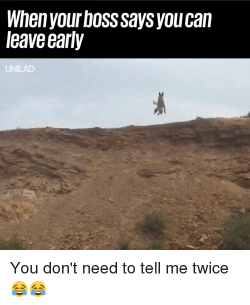 Leave Early: When your boss says youcan  leave early You don't need to tell me twice 😂😂