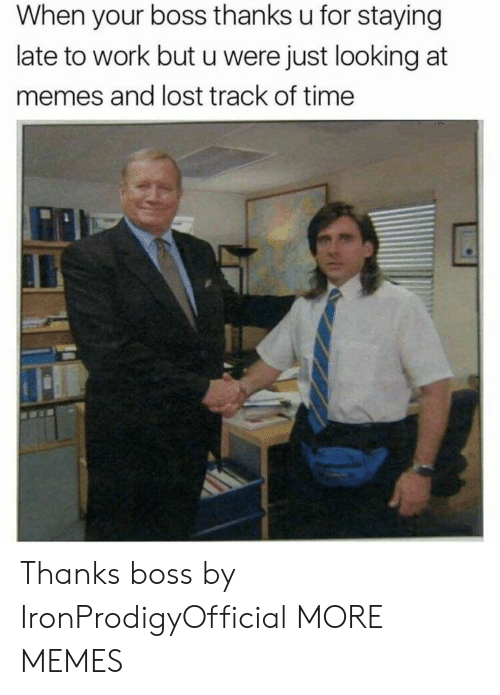 When Your Boss: When your boss thanks u for staying  late to work but u were just looking at  memes and lost track of time Thanks boss by IronProdigyOfficial MORE MEMES