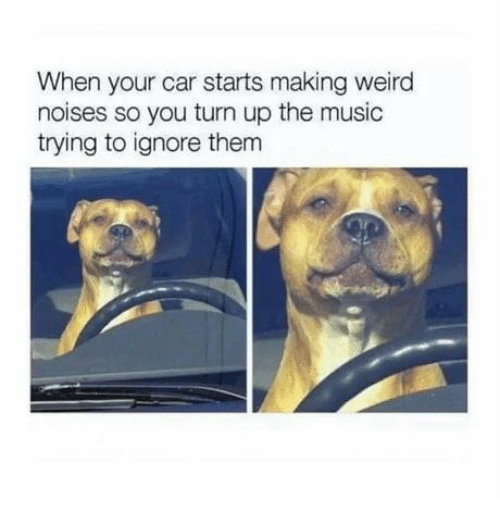 Memes, Music, and Turn Up: When your car starts making weird  noises so you turn up the music  trying to ignore thenm
