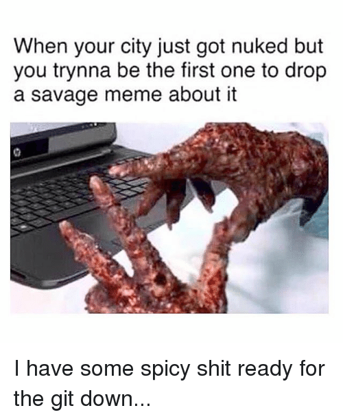 Meme, Memes, and Savage: When your city just got nuked but  you trynna be the first one to drop  a savage meme about it I have some spicy shit ready for the git down...