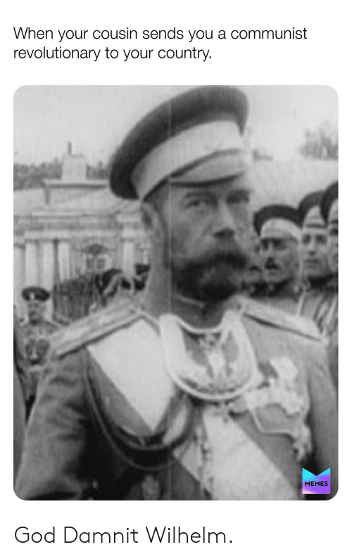 Country Memes: When your cousin sends you a communist  revolutionary to your country.  MEMES God Damnit Wilhelm.