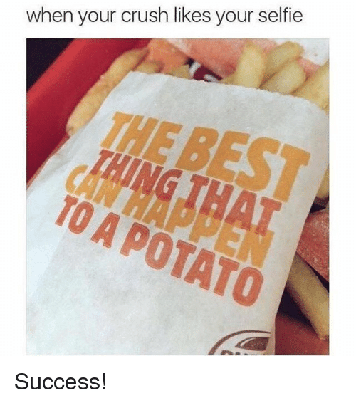 Crush, Memes, and Selfie: when your crush likes your selfie  TO A POTATO Success!