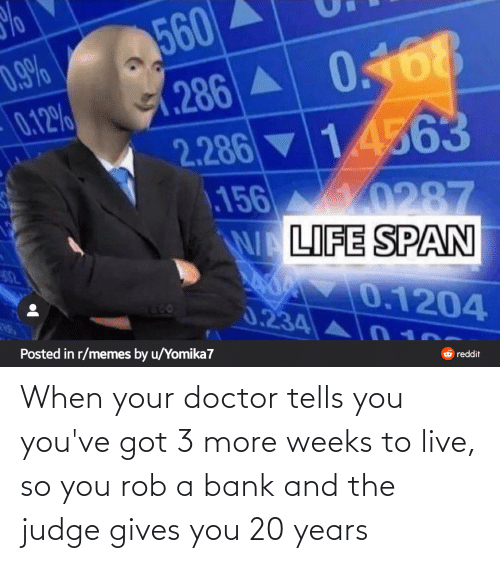 Youve Got: When your doctor tells you you've got 3 more weeks to live, so you rob a bank and the judge gives you 20 years
