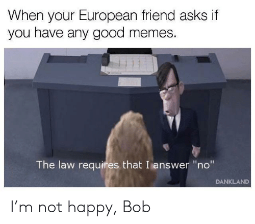"""Good Memes: When your European friend asks if  you have any good memes.  The law requires that I answer """"no""""  DANKLAND I'm not happy, Bob"""