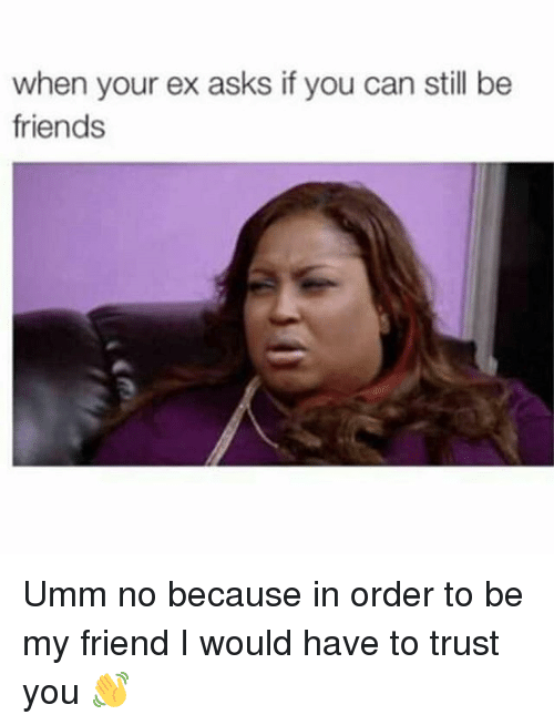 Memes, 🤖, and Order: when your ex asks if you can still be  friends Umm no because in order to be my friend I would have to trust you 👋