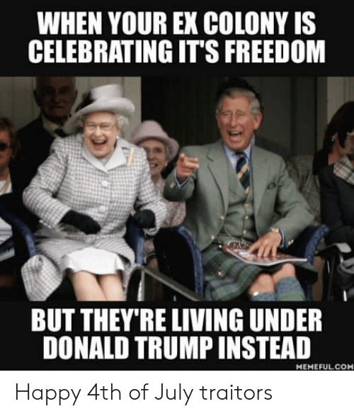 happy 4th of july: WHEN YOUR EX COLONY IS  CELEBRATING IT'S FREEDOM  BUT THEY'RE LIVING UNDER  DONALD TRUMP INSTEAD  MEMEFULCOM Happy 4th of July traitors