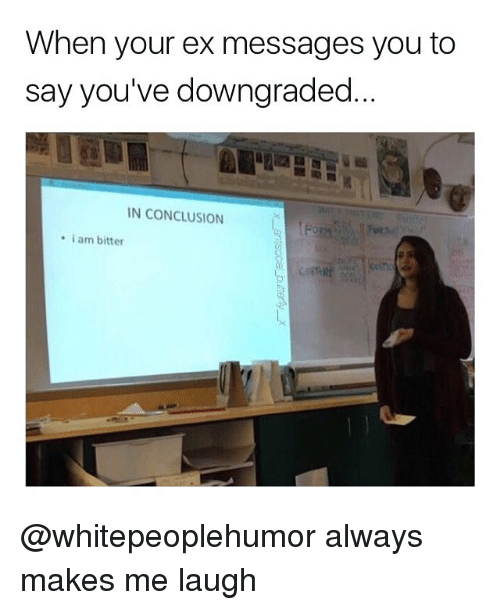 Memes, 🤖, and You: When your ex messages you to  say you've downgraded  N CONCLUSION  i am bitter @whitepeoplehumor always makes me laugh