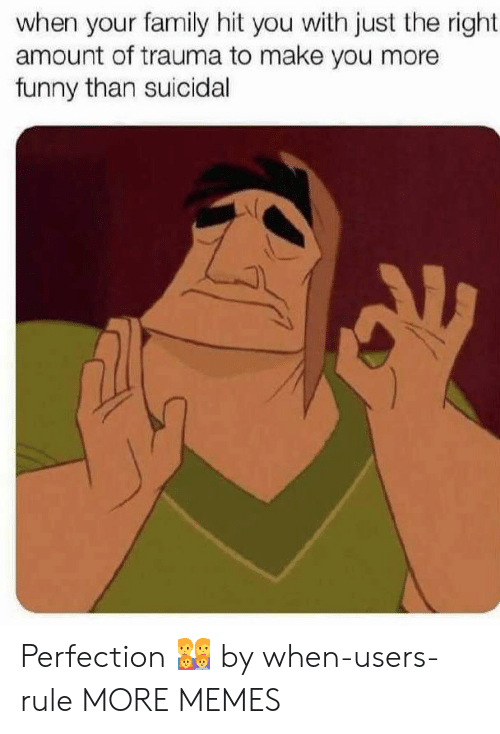 More Funny: when your family hit you with just the right  amount of trauma to make you more  funny than suicidal Perfection 👨👩👧👦 by when-users-rule MORE MEMES