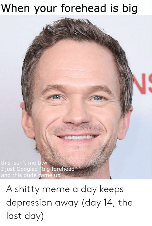 big forehead: When your forehead is big  NS  this isen't me btw  I just Googled big forehead  and this dude came up A shitty meme a day keeps depression away (day 14, the last day)