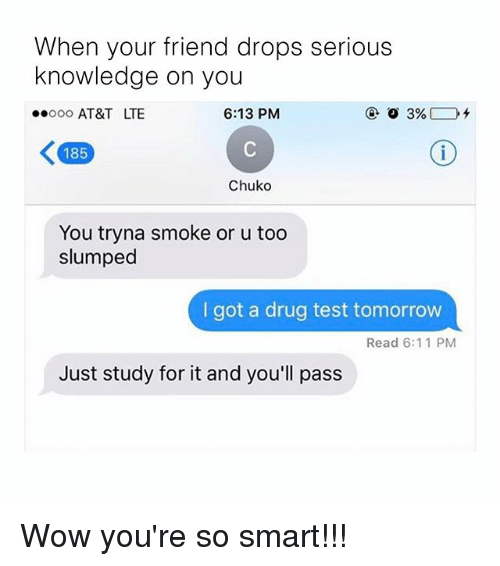 Test Tomorrow: When your friend drops serious  knowledge on you  6:13 PM  oooooo AT&T LTE  3%  K 185  Chuko  You tryna smoke or u too  slumped  got a drug test tomorrow  Read 6:11 PM  Just study for it and you'll pass Wow you're so smart!!!