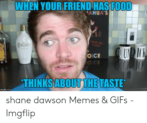 Shane Dawson Memes: WHEN YOUR FRIEND HAS FOOD  AHUAS  OICE  О СЕ  THINKSABOUTTHETASTE  imgflip.com shane dawson Memes & GIFs - Imgflip