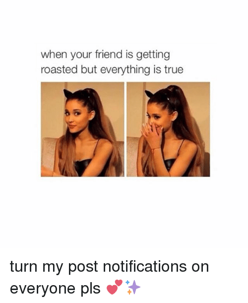 roast: when your friend is getting  roasted but everything is true turn my post notifications on everyone pls 💕✨