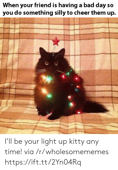 When Your Friend: When your friend is having a bad day so  you do something silly to cheer them up.  SmalQueeritch I'll be your light up kitty any time! via /r/wholesomememes https://ift.tt/2Yn04Rq