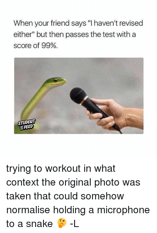 "Snake: When your friend says ""l haven't revised  either"" but then passes the test with a  score of 99%.  STUDENT trying to workout in what context the original photo was taken that could somehow normalise holding a microphone to a snake 🤔 -L"