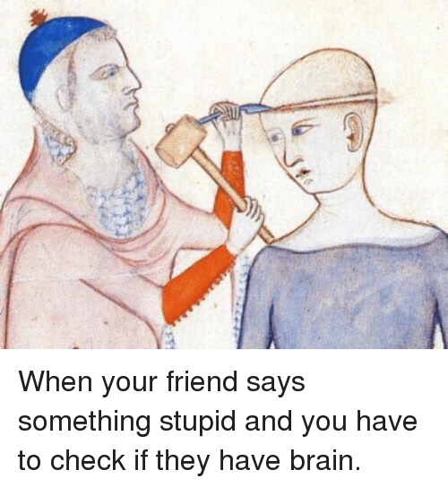 Saying Something Stupid: When your friend says something stupid and you have to check if they have brain.