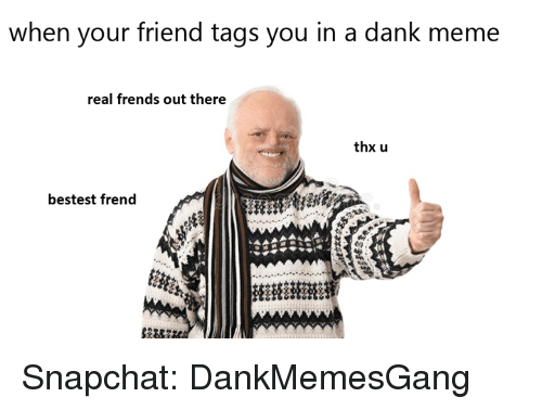 A Dank Meme: when your friend tags you in a dank meme  real frends out there  thx u  bestest frend  州 Snapchat: DankMemesGang