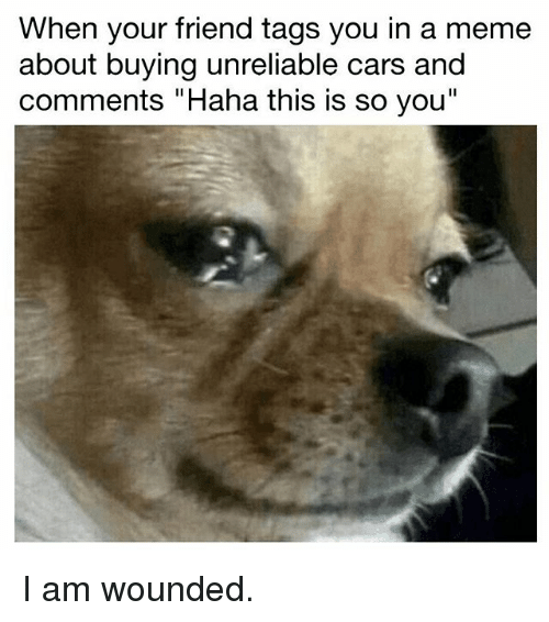 "Cars, Meme, and Memes: When your friend tags you in a meme  about buying unreliable cars and  comments ""Haha this is so you I am wounded."