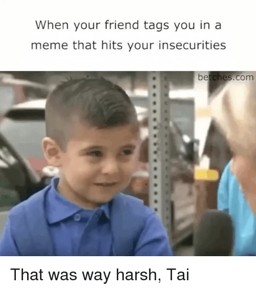 Meme, Girl Memes, and Harsh: When your friend tags you in a  meme that hits your insecurities  betches.com That was way harsh, Tai