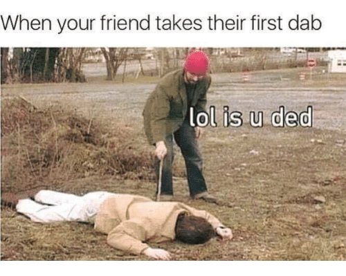 Lol, Memes, and 🤖: When your friend takes their first dab  lol is u ded