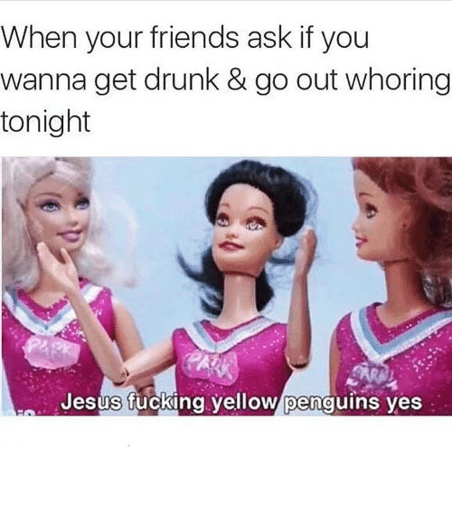 Drunk, Friends, and Fucking: When your friends ask if you  wanna get drunk & go out whoring  tonight  Jesus fucking yellow penguins yes ⠀