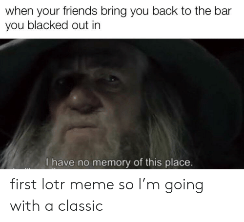 lotr meme: when your friends bring you back to the bar  you blacked out in  I have no memory of this place. first lotr meme so I'm going with a classic