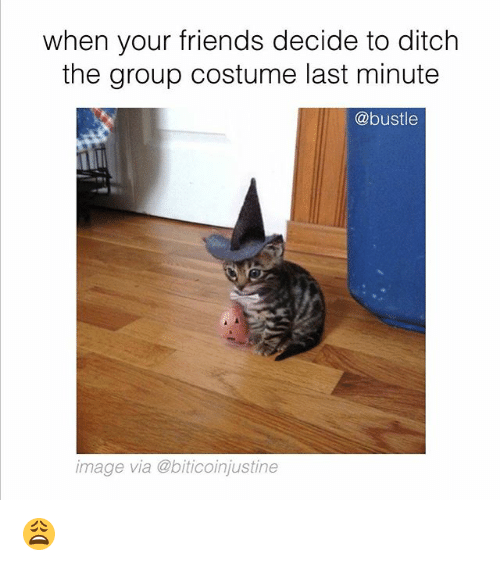 Friends, Memes, and Image: when your friends decide to ditch  the group costume last minute  @bustle  image via @biticoinjustine 😩